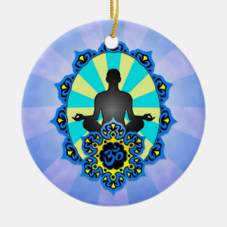 Meditation Yoga Aum, blue and yellow Christmas Ornament