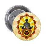 Meditation Yoga Aum, orange and yellow 6 Cm Round Badge