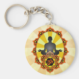 Meditation Yoga Aum, orange and yellow Keychain