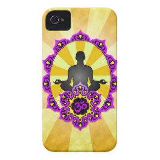 Meditation Yoga Aum, purple and yellow iPhone 4 Case