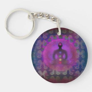 Meditation Yoga Key Ring Single-Sided Round Acrylic Key Ring