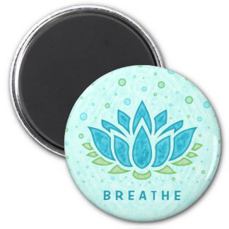 Meditation Yoga Lotus Flower Zen | Text Template 6 Cm Round Magnet
