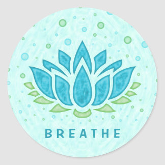 Meditation Yoga Lotus Flower Zen | Text Template Round Sticker