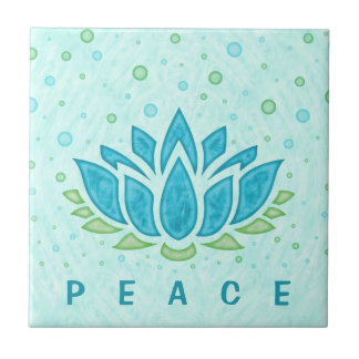 Meditation Yoga Lotus Flower Zen | Text Template Small Square Tile