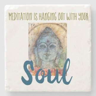 Meditation Zen Quote Buddha Stone Coaster