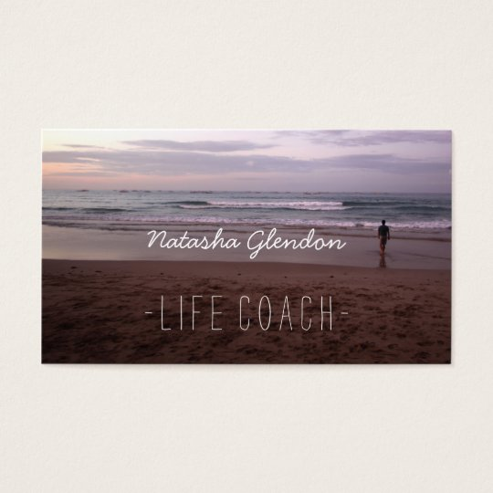 Meditative Beach Scene Life Coach Business Card