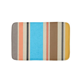Mediterranean Beach Color Stripe Tile Pattern Bath Mat