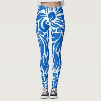 Mediterranean Blue Floral Print Leggings