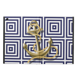 Mediterranean blue Greek Pattern Nautical Anchor iPad Air Cover