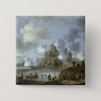 Mediterranean Castle under Siege from the Turks 15 Cm Square Badge