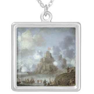 Mediterranean Castle under Siege from the Turks Silver Plated Necklace