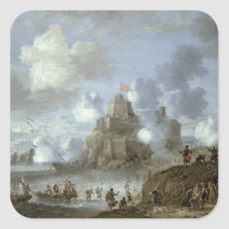 Mediterranean Castle under Siege from the Turks Square Sticker