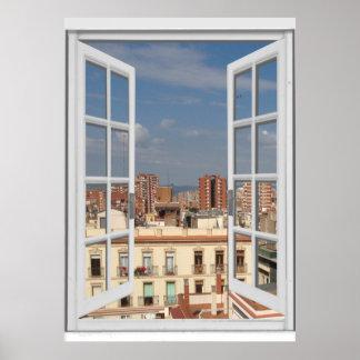 Mediterranean City View Fake Window Poster