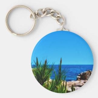 mediterranean coast basic round button key ring