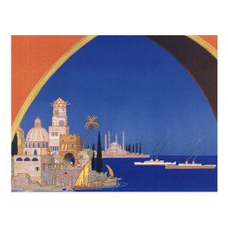 Mediterranean Cruises Ship Line Vintage Travel Postcard