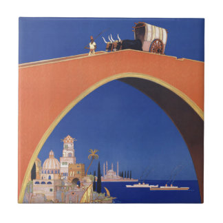 Mediterranean Cruises Ship Line Vintage Travel Tile