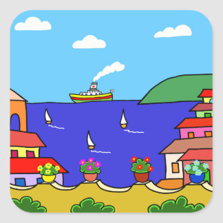 Mediterranean Holiday Square Sticker