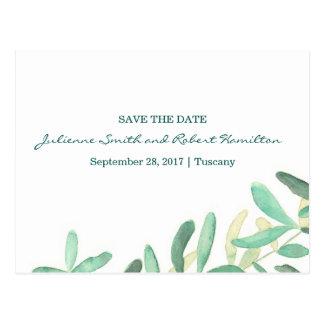Mediterranean  | Modern Foliage Save the Date Postcard