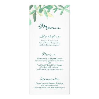 Mediterranean | Modern Foliage Wedding Menu Customized Rack Card