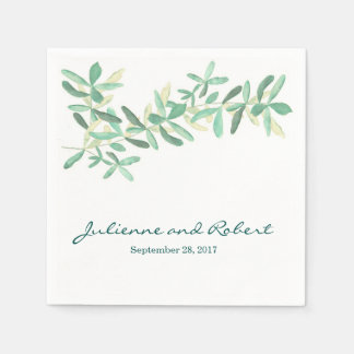 Mediterranean | Modern Foliage Wedding Napkins Disposable Napkin