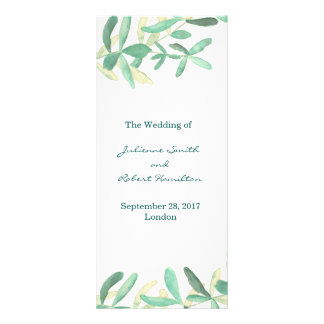 Mediterranean | Modern Foliage Wedding Program Customized Rack Card