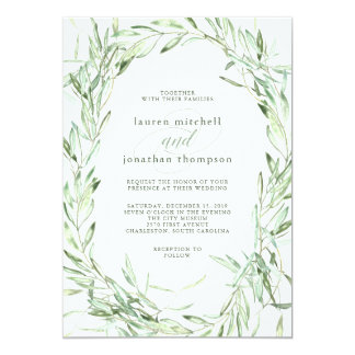 Mediterranean Olive Branches | Watercolor Wedding Card