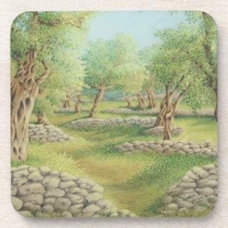 Mediterranean Olive Grove Hard Plastic Coasters
