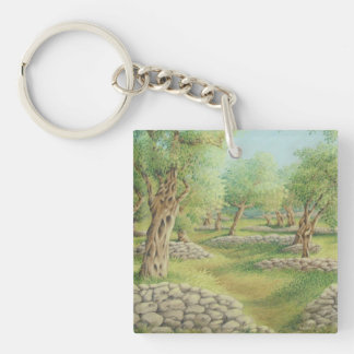 Mediterranean Olive Grove, Spain Acrylic Key Ring Double-Sided Square Acrylic Key Ring