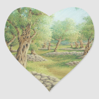 Mediterranean Olive Grove, Spain Heart Stickers