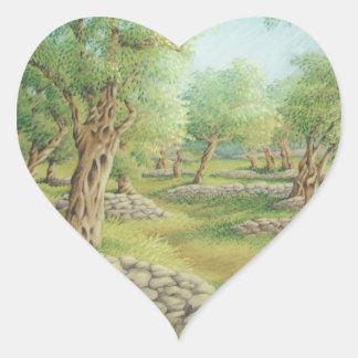 Mediterranean Olive Grove, Spain Heart Stickers