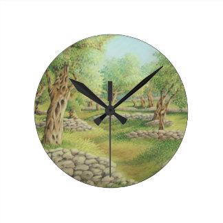 Mediterranean Olive Grove, Spain in Pastel Clock