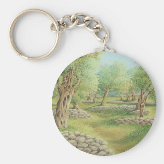 Mediterranean Olive Grove Spain in Pastel Key Ring Basic Round Button Key Ring