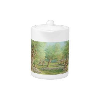 Mediterranean Olive Grove, Spain in Pastel Teapot
