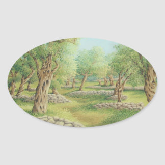 Mediterranean Olive Grove, Spain Oval Stickers