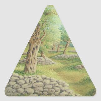 Mediterranean Olive Grove, Spain Triangle Stickers