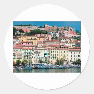 Mediterranean Sea Coast Italy Village and Harbor Classic Round Sticker