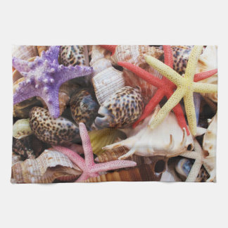 Mediterranean sea shells and starfish tea towel