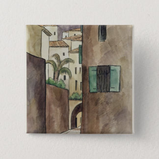 Mediterranean Street and Houses 15 Cm Square Badge