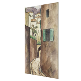 Mediterranean Street and Houses Canvas Print