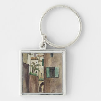 Mediterranean Street and Houses Key Ring