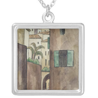 Mediterranean Street and Houses Silver Plated Necklace