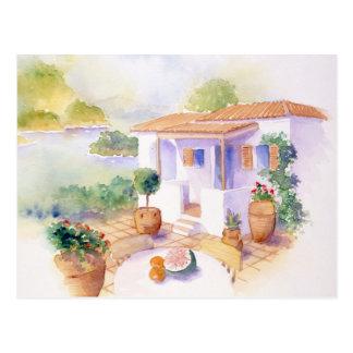 Meditteranean villa postcard