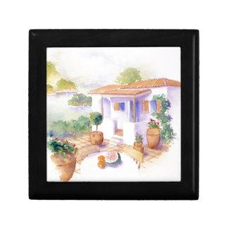 Meditteranean villa square tile gift box