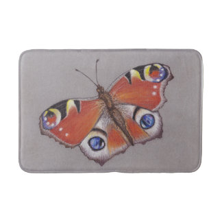 Medium Bath Mat with Peacock Butterfly Design