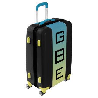 MEDIUM Black + Blue-Yellow Ombre Monogram Luggage
