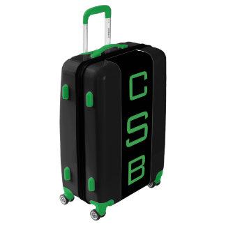 MEDIUM Black + Green Personalized Monogram Luggage