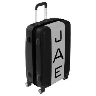 MEDIUM Black + Light Gray Monogrammed Luggage