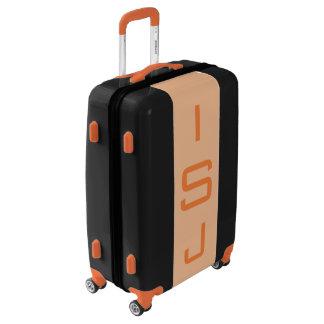 MEDIUM Black + Light Orange Monogrammed Luggage