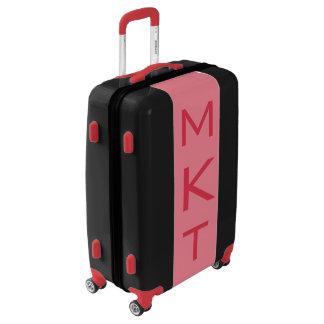 MEDIUM Black + Light Red Monogrammed Luggage
