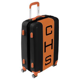 MEDIUM Black + Orange Monogrammed Luggage